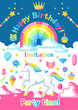 Happy birthday party invitation with unicorn and fantasy items