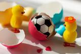 Easter Chicks and soccer ball