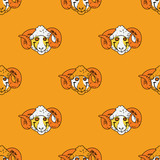 Funky ram seamless pattern. Original design for print or digital media.