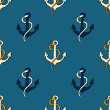 Ship anchor seamless pattern. Original design for print or digital media.