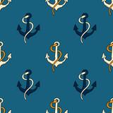 Ship anchor seamless pattern. Original design for print or digital media.