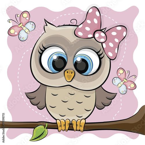 Fotobehang Uilen cartoon tie owl