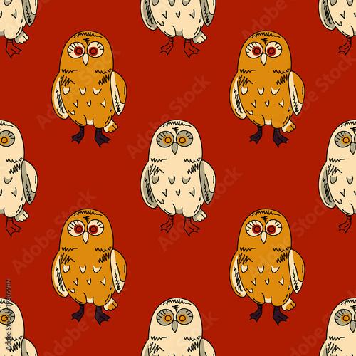 Fotobehang Uilen cartoon Cute owl seamless pattern. Original design for print or digital media.