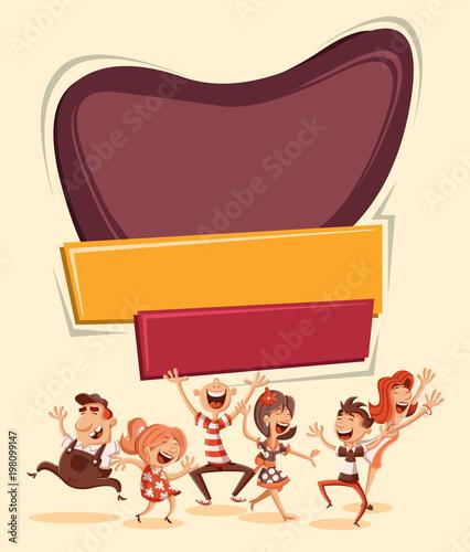 Retro template design with happy cartoon people dancing.