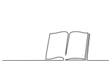 Fototapety Opened book with pages isolated on white. Continuous line drawing. Vector illustration