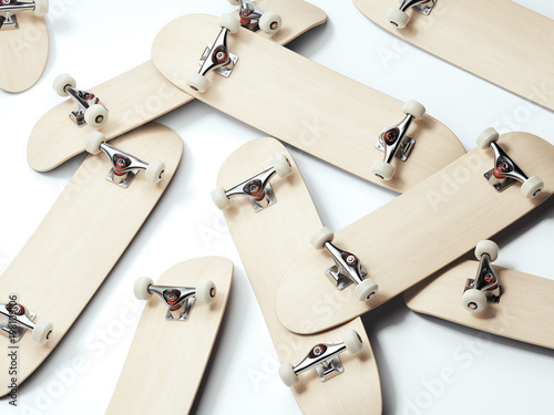 Bunch of blank wooden skateboards. 3d rendering