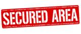 Secured area grunge rubber stamp - 198112782