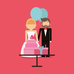 Just married couple with wedding cake and gifts over pink background, colorful design vector illustration