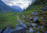 Stones and trail in Ak-kem valley. Altai mountains, Russia