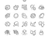 Sport Balls Well-crafted Pixel Perfect Vector Thin Line Icons 30 2x Grid for Web Graphics and Apps. Simple Minimal Pictogram