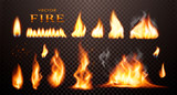 Realistic flame, vector 3d Fire collection, red lights, sparks, isolated on trensparent background. - 198132976