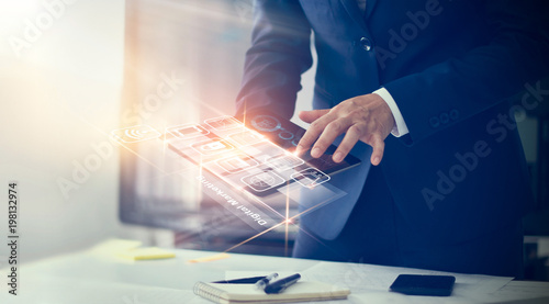 Digital marketing. Businessman using modern interface payments online shopping and icon customer network connection on virtual screen. Business innovation technology concept