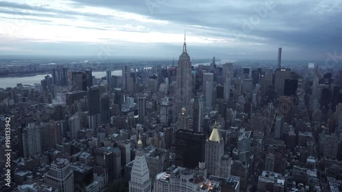 New York City wide angle aerial view of Midtown Manhattan from above Gramercy.