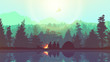 People camping, adventure and travel concept, beautiful forest, mountain and sky, double exposure, vector illustration.