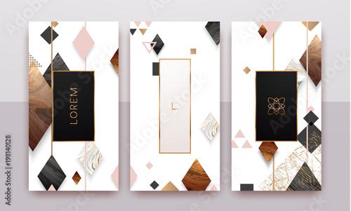 Złoto, różowe złoto, czarno-biały marmurowy szablon, artystyczny projekt okładki, kolorowa faktura, geometryczne tła. Modny wzór, plakat graficzny, broszura, karty. Ilustracji wektorowych.