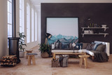 Trendy loft conversion with black divider wall - 198143166