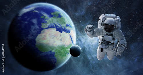 Plexiglas Nasa Astronaut floating in space 3D rendering elements of this image furnished by NASA