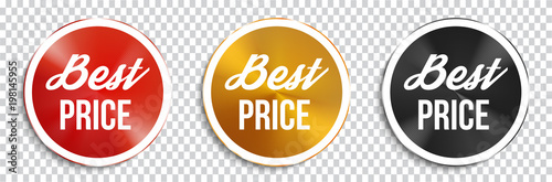 Best price circle banners on transparent background. Vector illustration.