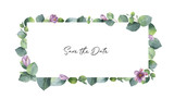 Watercolor vector banner with green eucalyptus leaves, purple flowers and branches. - 198146713