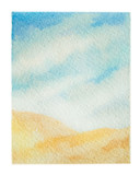 Watercolor vector background of landscape with desert. - 198146780