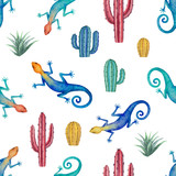 Watercolor seamless pattern of landscape with lizard and cacti isolated on white background. - 198146949