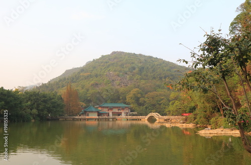 Fotobehang Guilin West Lake scenic area landscape Guilin China