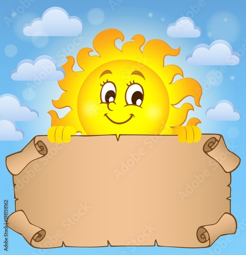 Poster Voor kinderen Happy sun holding parchment theme 2
