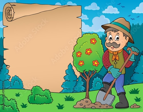 Poster Voor kinderen Parchment with man planting tree