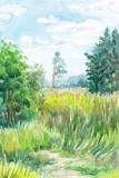 Watercolor hand-drawn summer landscape