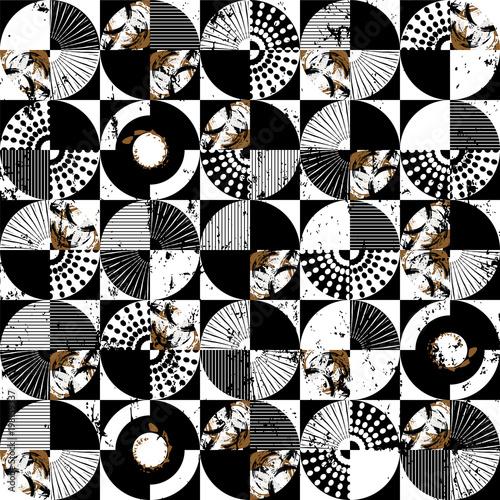 Aluminium Abstract met Penseelstreken Abstract circles, seamless vector art pattern