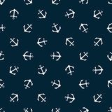 Seamless pattern with icons of anchors on a blue background