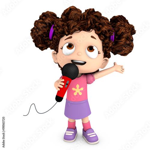 Fototapeta Cantando con un micrófono