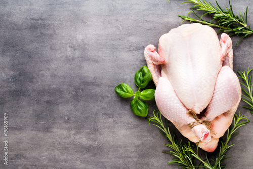 Fresh chicken  meat and vegetables. Flat lay. - 198165909