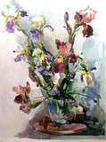 watercolor art  background floral  exotic  flowers iris bouquet vase  bloom painting bright   textured  decoration  hand beautiful colorful delicate romantic