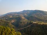 Drone view of the suspension bridge over the Modi river in Kushma, Nepal