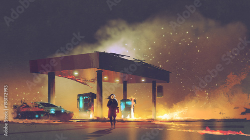 scene of the man burning the gas station at night, digital art style, illustration painting © grandfailure