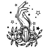 Witchcraft. Witch hand, magic crystal and flowers peonies. linear tattoo print illustration. - 198174549