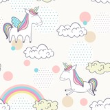 Magic cute unicorns. Vector hand drawn seamless pattern