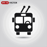 trolleybus single vector icon on light background