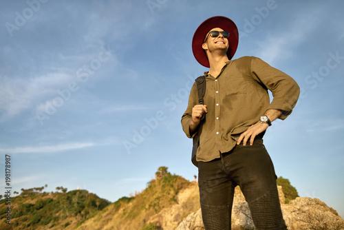 Traveler posing outdoors