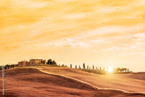Canvas Toscane Beautiful typical landscape of Tuscany at sunset, Italy