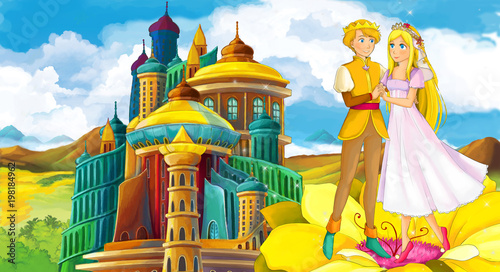 cartoon scene with happy young girl - princess near the castle - illustration for children - 198184962