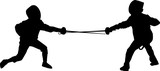 two young fencers silhouettes isolated on white