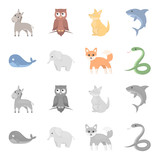 Whale, elephant,snake, fox.Animal set collection icons in cartoon,monochrome style vector symbol stock illustration web.