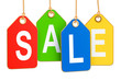 Colored hanging Sale tags, 3D rendering