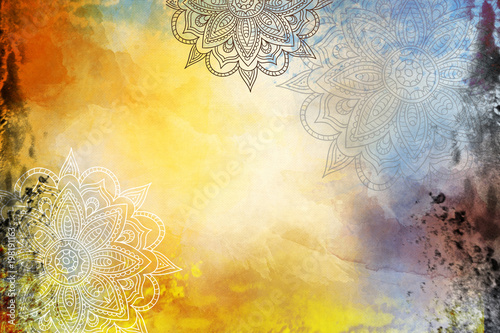 Grunge Mandala Background yellow and orange - 198191163