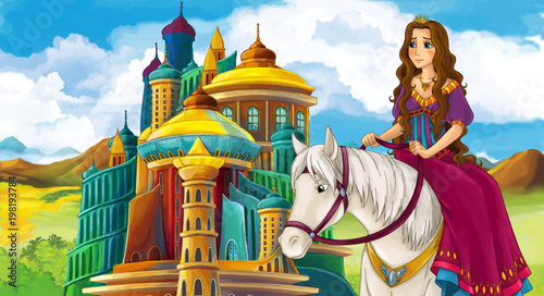 cartoon scene with beautiful princess on white horse near the castle - illustration for children - 198193784