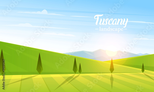Fotobehang Pool Rural landscape. Farm Agriculture. Vector illustration. Poster with meadow, Countryside, retro village for info graphic, websites. Windmill and hay. Summer morning background. Tuscany and dawn.