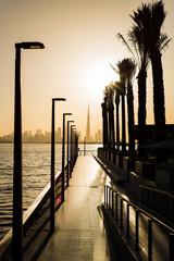 Dubai Creek harbor romantic sunset scene