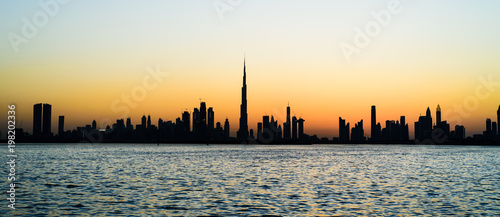 Panoramic view of Dubai at sunset